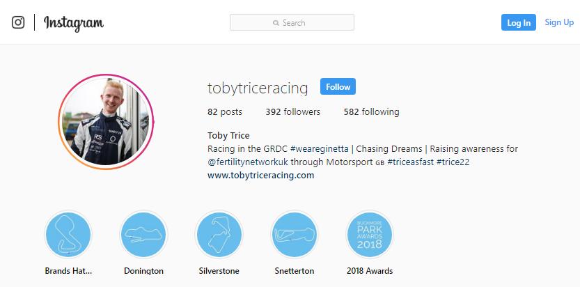 Screenshot of Toby Trice's Instagram account.